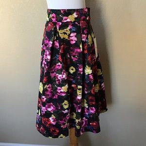 New Eliza J Floral-Print Pleated Skirt w/ Pockets